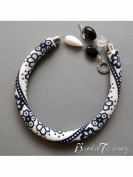 WINTER LACE - bead crochet necklace pattern / Bead crochet rope ...