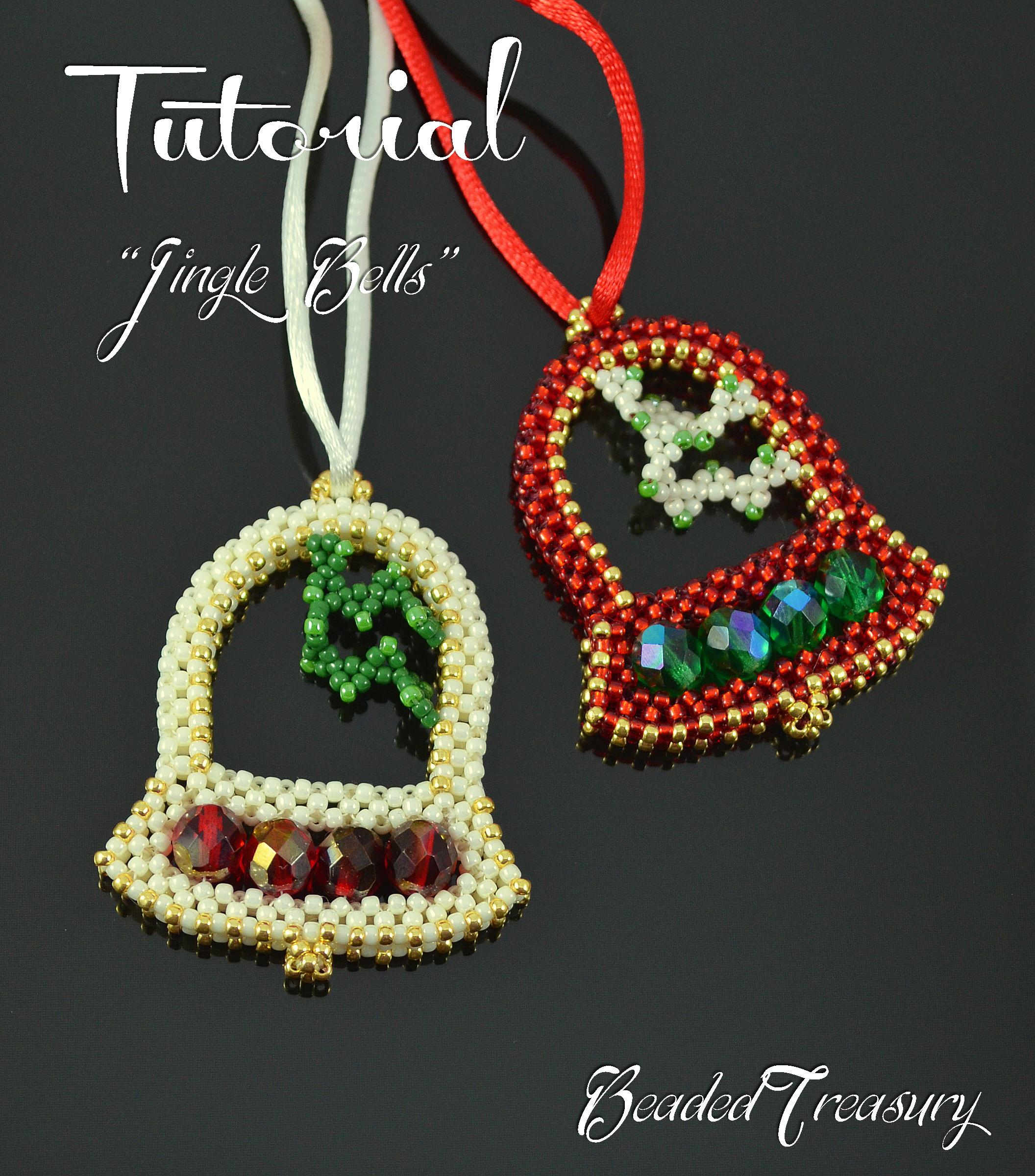 Ring pendant tutorials beadedtreasury jingle bells beaded christmas ornament pattern beading tutorial with seed beads christmas gift tutorial only baditri Choice Image