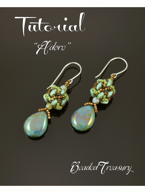 Adore Beaded Bead Earrings Tutorial Beading Miniduo Pattern Seed Beads Demi Round Only