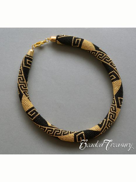 Greek Meanders Bead Crochet Pattern Necklace Bead Crochet Rope