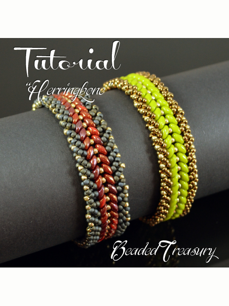 Herringbone Beadwoven Bracelet Tutorial Superduo Bead Pattern Beading Seed Beads Only