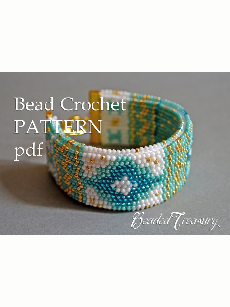 Mediterranean Breeze Bead Crochet Bracelet Pattern Tutorial Beaded Only Beadedtreasury