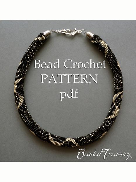 Silver Rain Bead Crochet Pattern Beaded Crochet Rope Necklace
