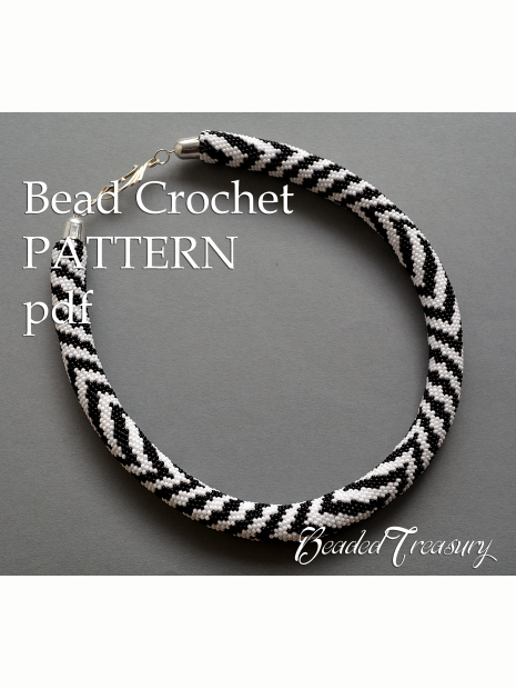 Zebra Bead Crochet Necklace Pattern Bead Crochet Pattern