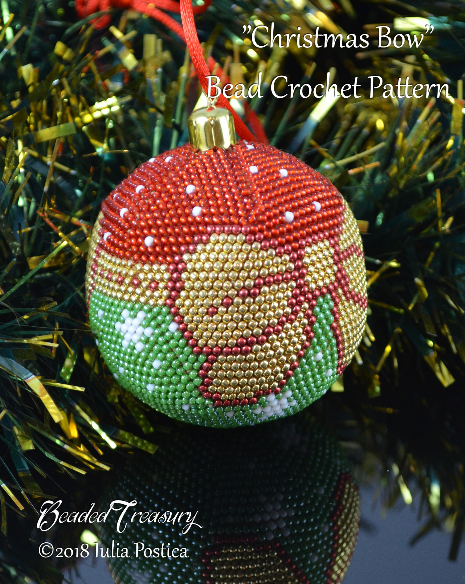 Beaded Christmas Ornaments Patterns.Christmas Bow Beaded Crochet Ball Ornament Pattern Made With Seed Beads Pdf Download
