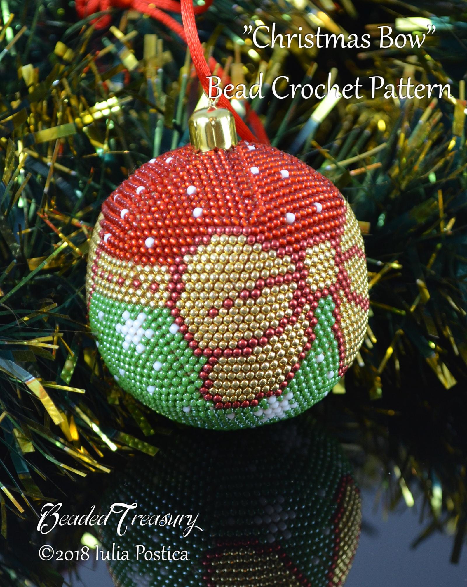 Christmas Bow Beaded Crochet Ball Ornament Pattern Beadedtreasury