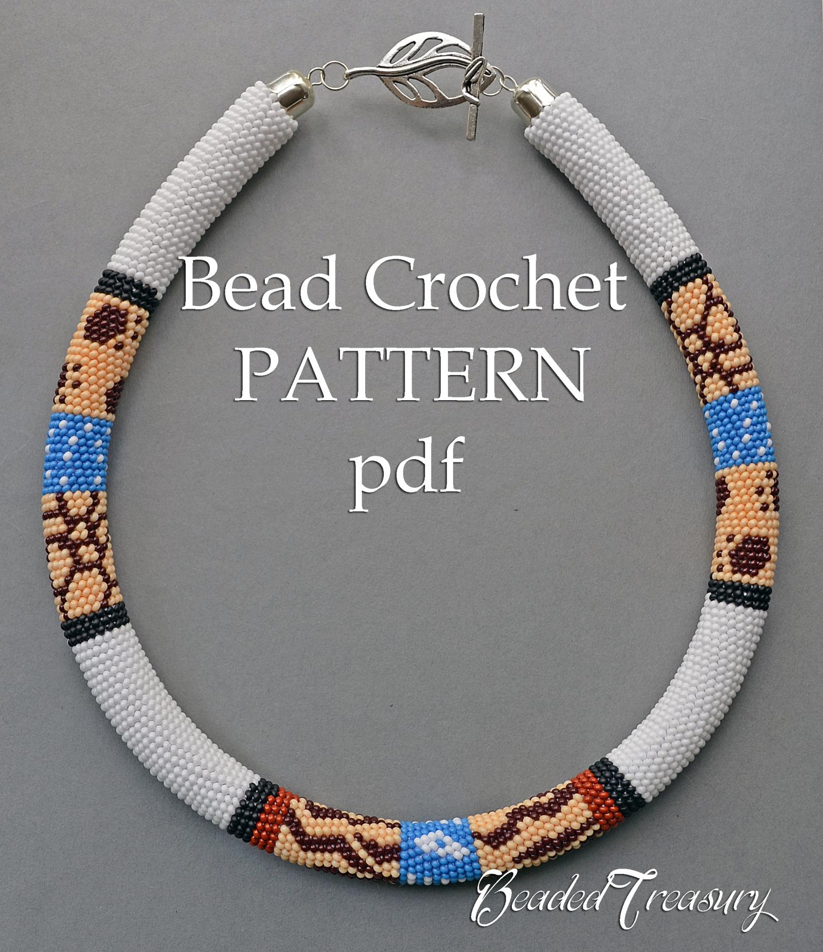 Safari Bead Crochet Necklace Pattern Bead Crochet Pattern