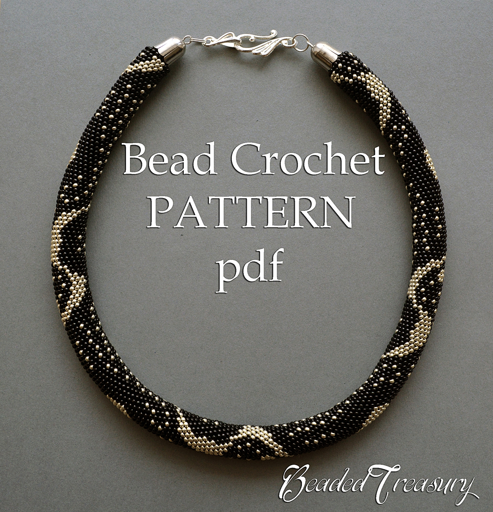 Silver Rain Bead Crochet Pattern Beaded Crochet Rope Necklace